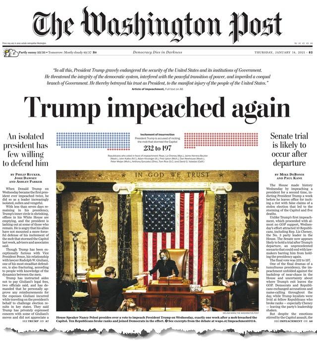 Washington Post Headline Trump Impeached Again - details at grab-your-wallet.com
